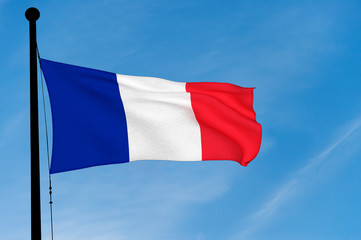 French Flag waving over blue sky (3D rendering)