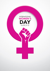 Title International Women's Day inside the symbol of woman in pink with a closed fist inside the symbol on white background