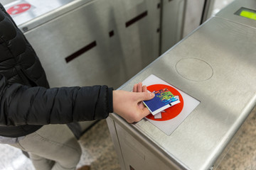 Entrance Gate Ticket Access Touch technology Metro Station.