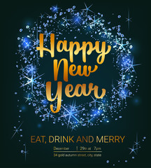 New year poster with decorate text and glowing light effects. Vector illustration.