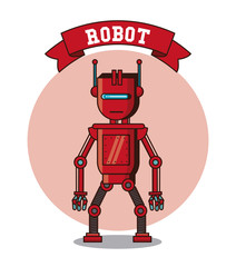 Robot funny cartoon icon vector illustration graphic design
