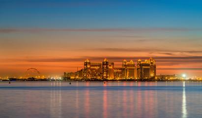 Skyline of Doha at sunset. The capital of Qatar