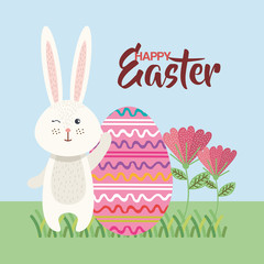 eggs paint and flowers easter season vector illustration design