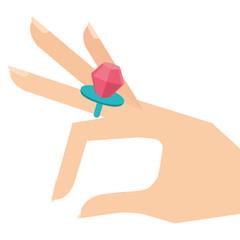 cartoon hand with diamond ring image vector illustration
