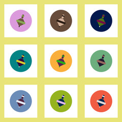 Collection of stylish vector icons in colorful circles toy whirligig
