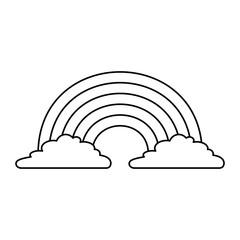 cute rainbow cloud magic fantasy image vector illustration outline design