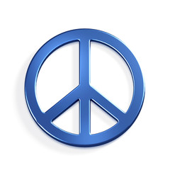 Peace Symbol.3D Blue render Illustration