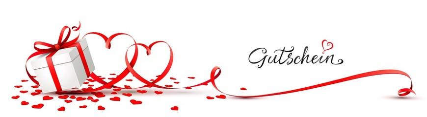 Geschenk Schachtel mit doppelter Herz Schleife und Kalligraphie - Gutschein Banner