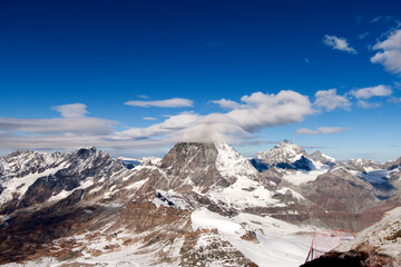 Winter panorama of mount Matterhorn covered with clouds, Canton of Valais, Alps, Switzerland