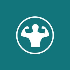 Body building man fitness exercise and weight lifting vector icon