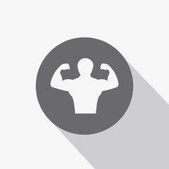 Body building man fitness exercise and weight lifting vector icon with flat shadow