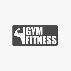 Gym fitness post vector icon for body building health and balanced body