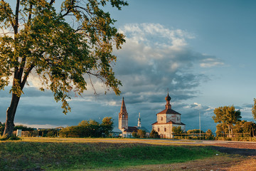 church in the summer/ The church in Suzdal at sunset in the summer.