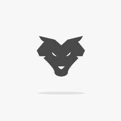 Wolf animal icon wildlife werewolf wolves vector symbol or logo with shadow eps10