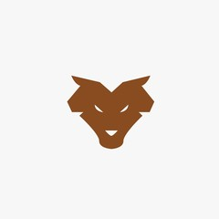 Wolf animal icon wildlife werewolf wolves vector symbol or logo brown eps10