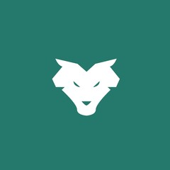 Wolf animal icon wildlife werewolf wolves vector symbol or logo green background eps10