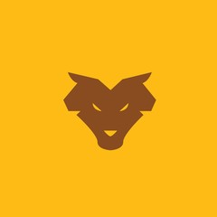 Wolf animal icon wildlife werewolf wolves vector symbol or logo brown yellow background eps10