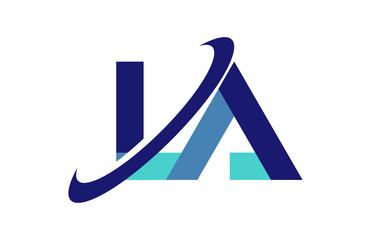 LA Ellipse Swoosh Ribbon Letter Logo