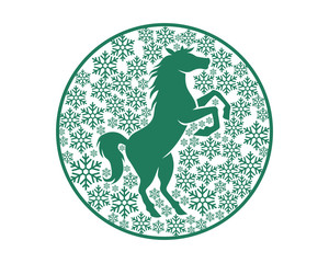 circle green snow flake pattern horses stallion mustang mare silhouette image
