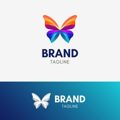 Butterfly Ribbon logo template icon symbol with vibrant color