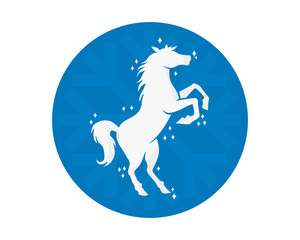 circle blue snow flake horses stallion mustang mare silhouette image