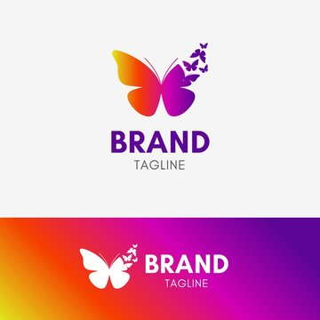 Butterfly Morph logo template icon symbol with vibrant color