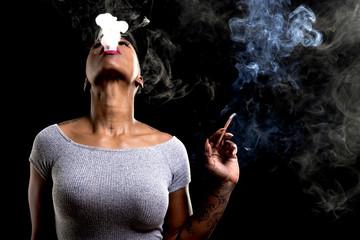 african female smoking