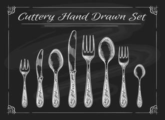 Fork spoon knife on chalkboard. Dinnerware cutlery vintage chalk drawing vector sketch