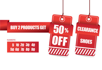 Sale 20% off and clearance banner design over a white background, vector illustration