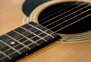 Closeup of guitar strings