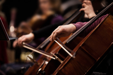 The hands of a musician playing the cello in an orchestra in dark tones