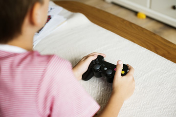 Young boy playing game