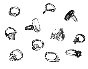 Black and white hand drawn ink set of rings