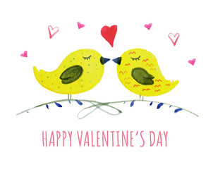 Hand drawn watercolor illustration for St Valentine's day with pair of yellow birds and hearts