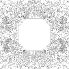 Floral hand drawn frame on white background