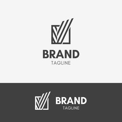 Letter V Abstract Line Logo template element symbol in black color
