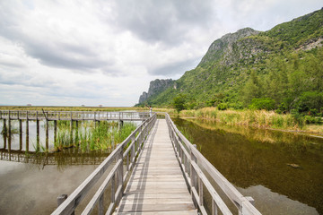 Mountain view from Wooden Bridge at Khao sam roi yod national park, Prachuap Khiri Khan, Thailand