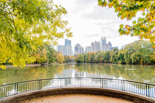 Atlanta Skyline Piedmont Park and Lake in the Fall