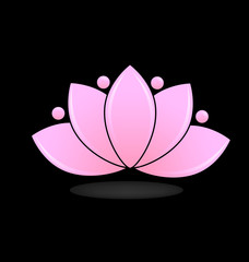 Pink lotus, vector isolated