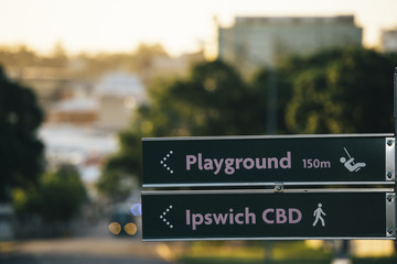 Road sign in Ipswich City, Queensland.