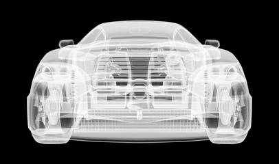 Xray image of a car on black background