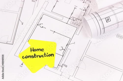 House Shape With Text Home Construction And Electrical Diagrams Or