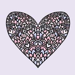 Handdrawn zentangle heart. Mandala style design for St. Valentine day cards. Coloring book pattern. Vector doodle illustration.