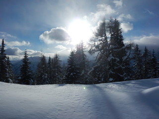 beautiful winter landscape in the alps