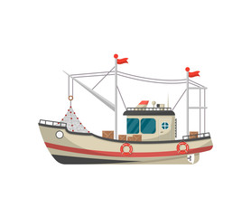 Small fishing trawler side view isolated icon. Sea or ocean transportation, marine ship for industrial seafood production vector illustration in flat style.