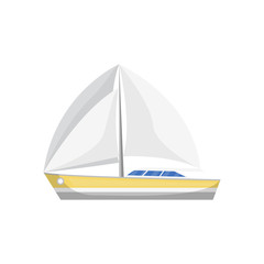 Sea sailboat side view isolated icon. Marine passenger cruise ship, worldwide yachting, nautical sport competition, sea or ocean vessel vector illustration.