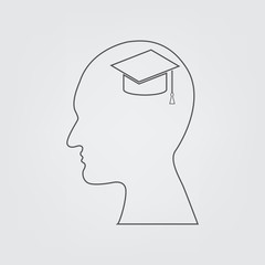 Line icon Head with Graduate hat. head think graduation day.