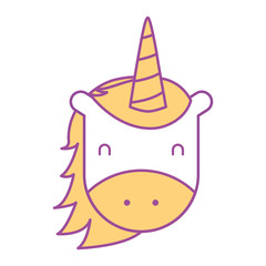 unicorn horned animal fantasy magic vector illustration yellow design