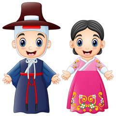 Cartoon Korean couple wearing traditional costumes