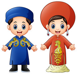 Cartoon Vietnam couple wearing traditional costumes